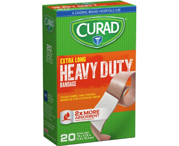 Curad CUR01101RB Heavy Duty Extra Long Bandages, 20-Count