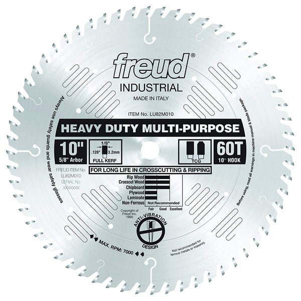 "Freud LU82M010 Heavy Duty Multi-Purpose Carbide Saw Blade, 5/8"" Arbor, 10"" Dia."