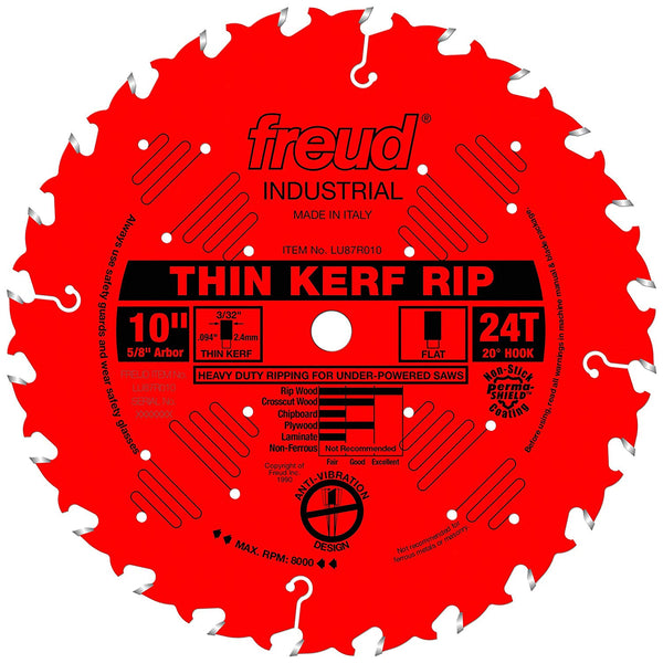 "Freud LU87R010 Thin Kerf Rip Carbide Circular Saw Blade, 24-Teeth, 5/8"" Arbor, 10"" Dia"