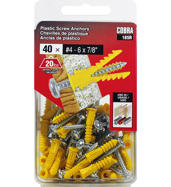 "Cobra Anchore 185R Plastic Wall Anchor with Screws, #4-6 x 7/8"", 40-Count"