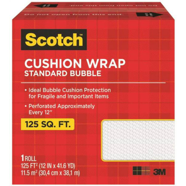 "Scotch 7962 Nylon Barrier Cushion Wrap, 12"" x 125', Clear"