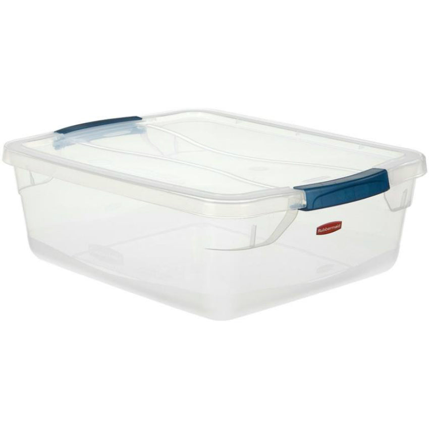 Rubbermaid RMCC150001 Clever Store Basic Latch Container with Clear Lid, 15-Qt