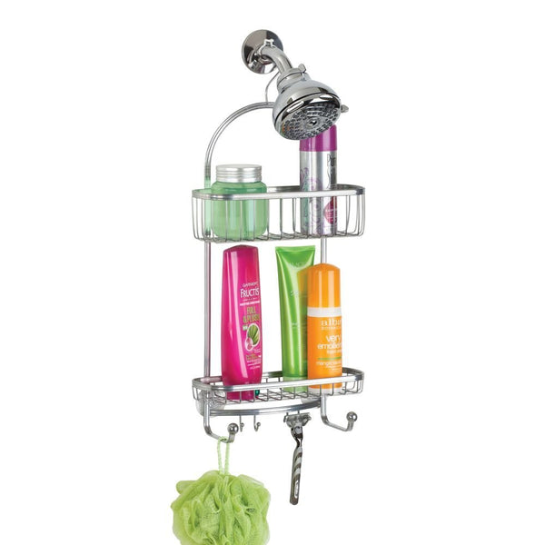 InterDesign 61886 York Lyra Shower Caddy w/ 2-Storage Baskets & 6-Hooks, Silver