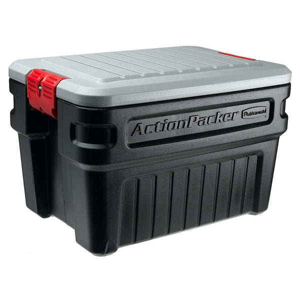 Rubbermaid RMAP240000 ActionPacker Durable Container, Black, 24-Gallons