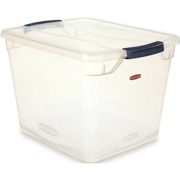Rubbermaid RMCC300001 Clever Store Basic Latch Container with Clear Lid, 30-Qt