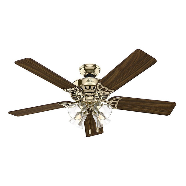 Hunter Fan 53066 Studio Series Ceiling Fan w/ 4-Lights, Bright Brass, 52""