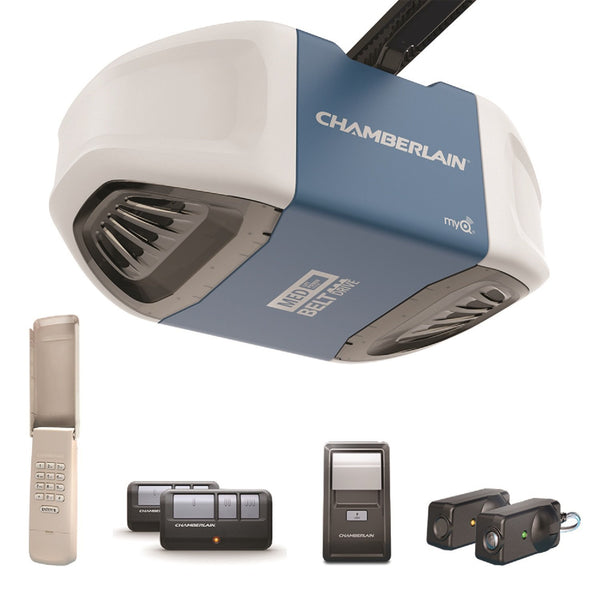Chamberlain B510 Belt Drive Garage Door Opener w/Button Control, 1/2 HP