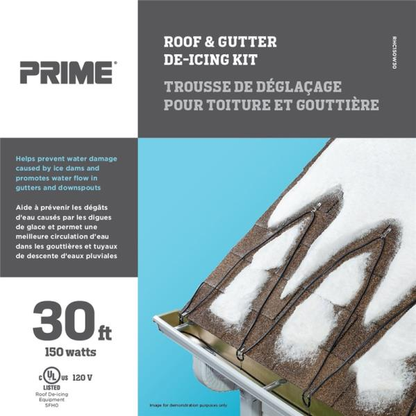 Prime ORRHC150W30 Roof & Gutter De-Icing Kit, Black/Blue, 30'