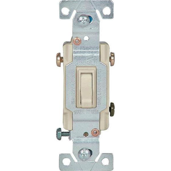 Cooper Wiring 1303-7V-BOX Grounding 3-Way Toggle Switch, Ivory, 15-Amp