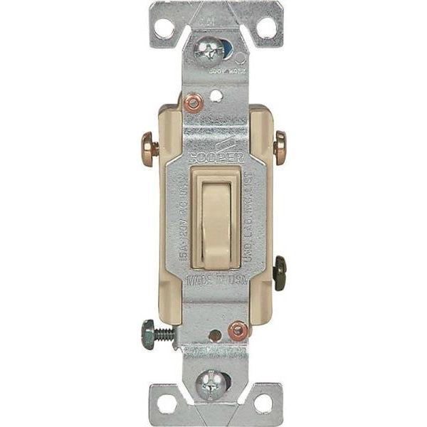 Cooper Wiring 1303-7V Single-Pole Grounding Toggle Switch, Ivory, 3-Way