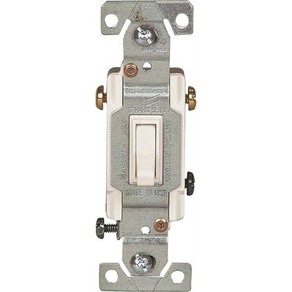 Cooper Wiring 1303-7W Single-Pole Grounding Toggle Switch, White, 3-Way