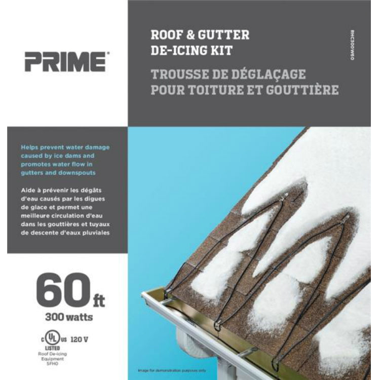 Prime ORRHC300W60 Roof & Gutter De-Icing Kit, Black/Blue, 60'