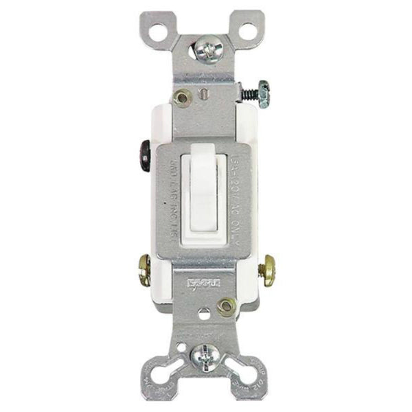 Cooper Wiring 1303-7W-BOX Grounding 3-Way Toggle Switch, White, 15-Amp