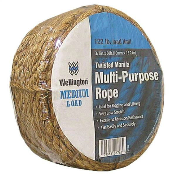 "Wellington 28768 Twisted Manila Multi-Purpose Rope, Natural, 3/8"" x 50'"