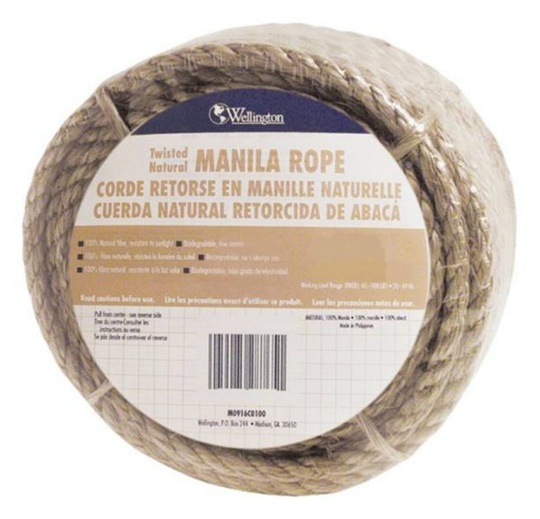 "Wellington 28764 Manila Fiber Twisted Rope, 1/4"" x 50'"