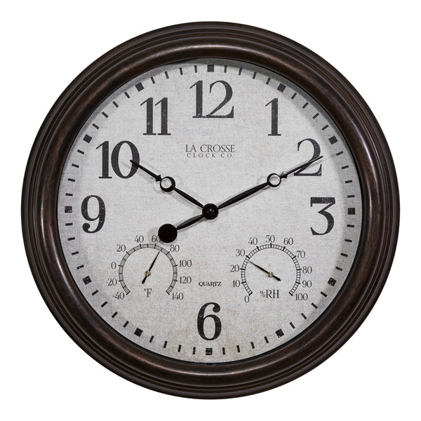 "La Crosse 404-3015 Indoor / Outdoor Wall Clock, 15"" Diameter"