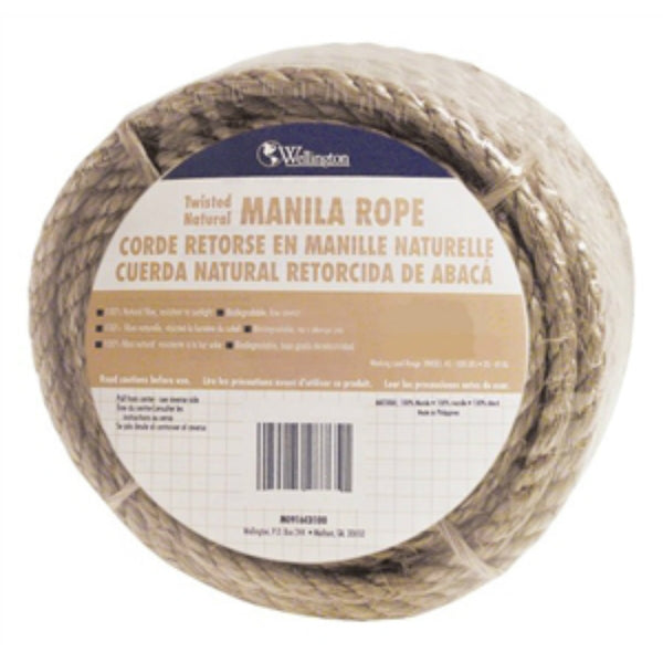"Wellington 28773 Twisted Manila Multi-Purpose Rope, Natural, 1/2"" x 600'"