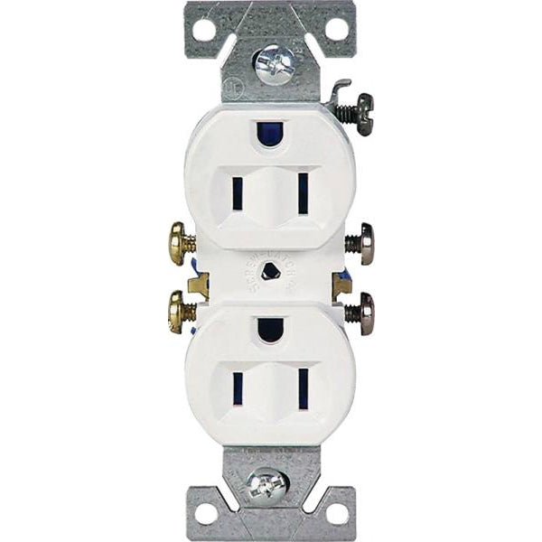 Cooper Wiring 270W Grounding Standard Duplex Receptacles, 2-Pole, White, 15A