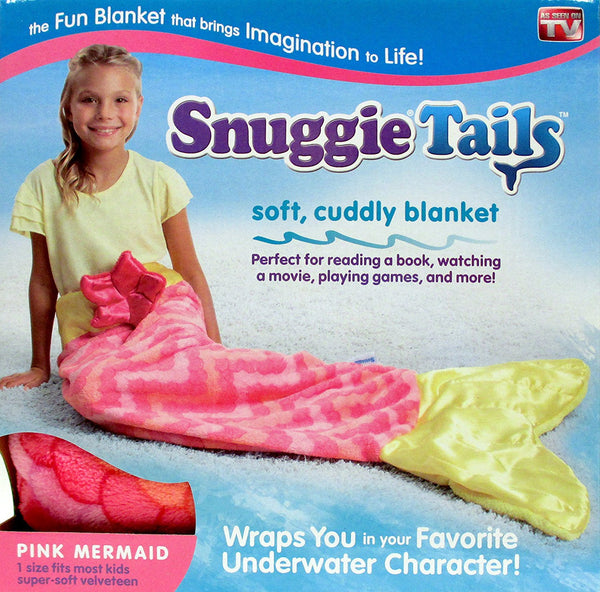 Snuggie Tails SU011106 Soft Cuddly Blanket for Kids, Pink Mermaid, As Seen On TV