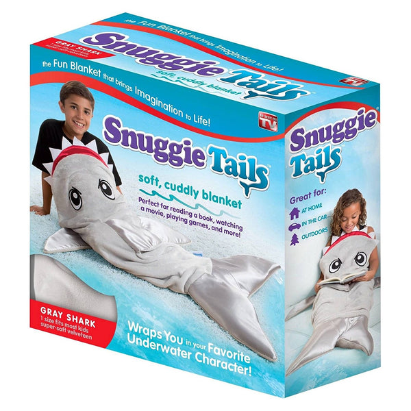 Snuggie Tails SU021106 Soft Cuddly Blanket for Kids, Gray Shark, As Seen On TV