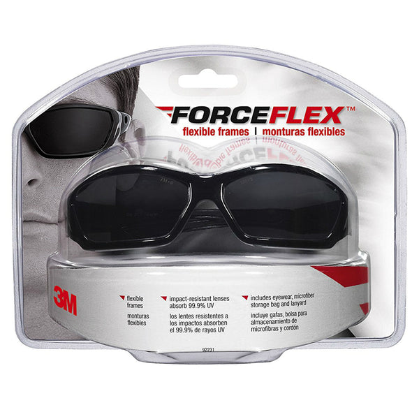 3M 92231-80025 ForceFlex Flexible Safety Eyewear, Glossy Black Frame, Gray Lens