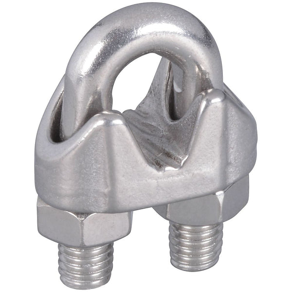 "National Hardware N348-904 Wire Cable Clamps, Stainless Steel, 1/4"", 2-Count"