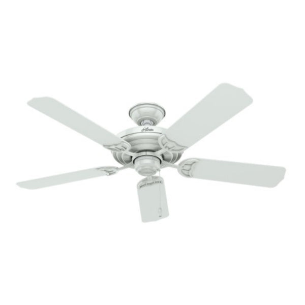 Hunter 53054 Sea Air Outdoor Ceiling Fan with 5-Blades, Stainless Steel, White