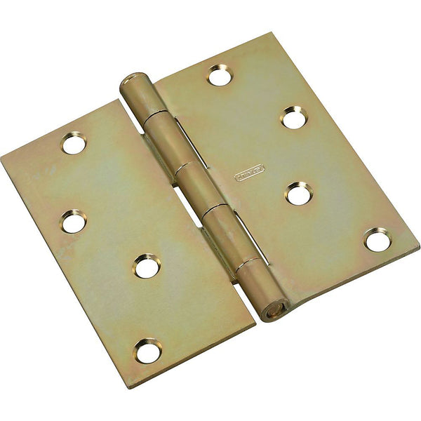 "National Hardware N830-267 Steel Square Corner Door Hinge, 4"", Brass Tone"