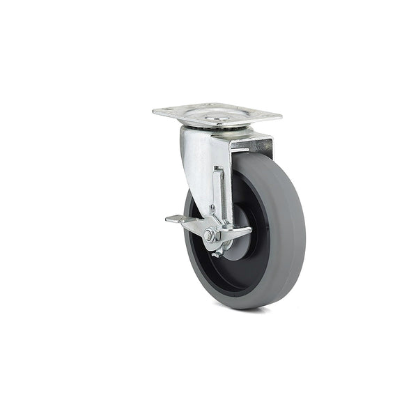 Richelieu F25371 Thermoplastic Rubber Swivel Caster with Brake, 298 Lbs, 5""