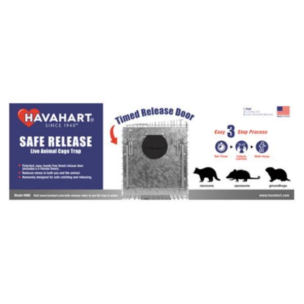 Havahart 998 Time Release Galvanized Steel Animal Cage Trap, Large