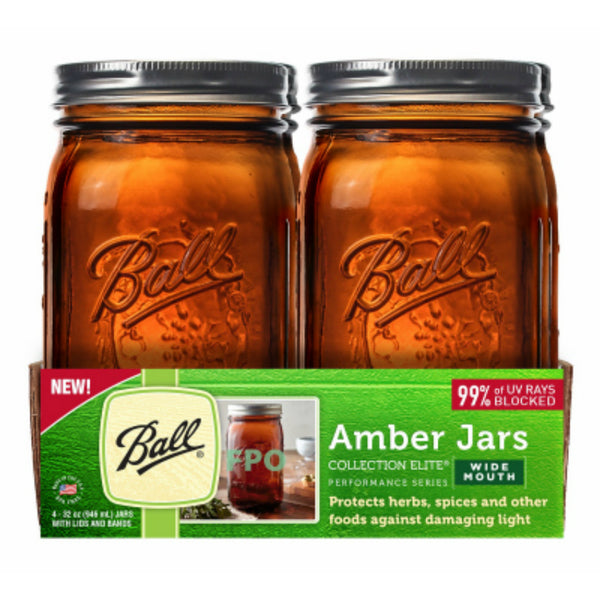 Ball 1440069046 Collection Elite Performance Series Amber Jars, 32 Oz, 4-Pack