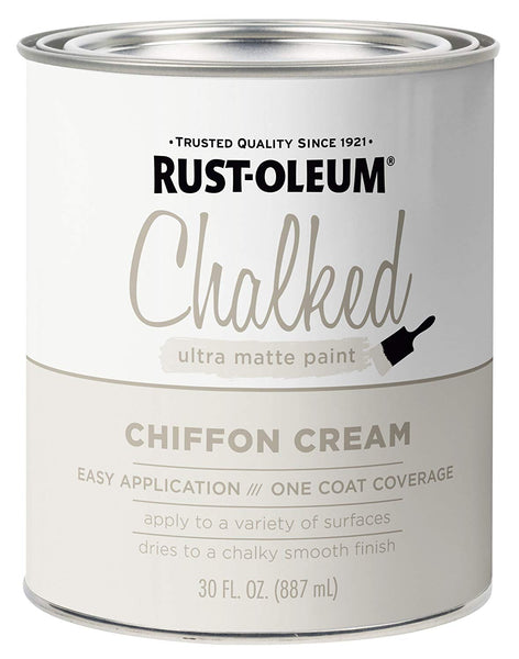 Rust-Oleum 329598 Chalked Ultra Matte Paint, Chiffon Cream, 30 Oz