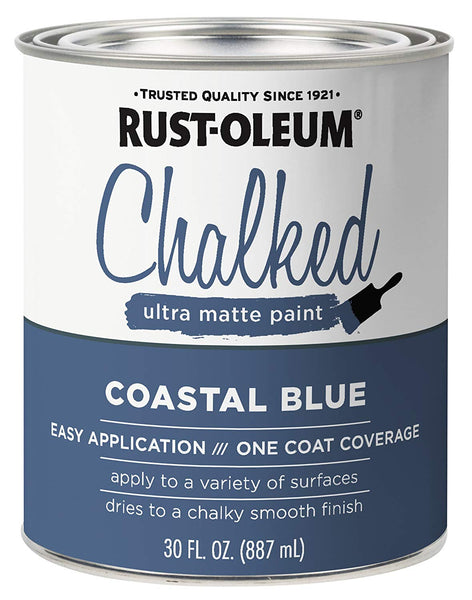 Rust-Oleum 329207 Chalked Ultra Matte Paint, Coastal Blue, 30 Oz