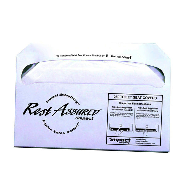 Impact 25177673 Rest Assured Biodegradable Toilet Seat Cover, White, 250-Count