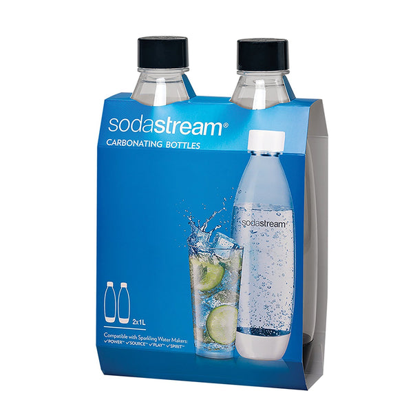 SodaStream 1741221010 Black Source Carbonating Bottles, 1 L, 2 Pack