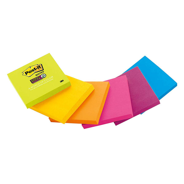 "Post-It 654-SSPK Assorted Colors Super Sticky Notes, 3"" x 3"", 90-Sheets"