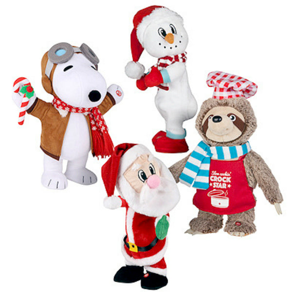"Gemmy 97251 Christmas 4-Styles Dancing Plush Figures, 14"", 8 Piece"
