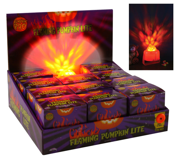 Fun World 94807PDQ Flaming Pumpkin Light Halloween Decor