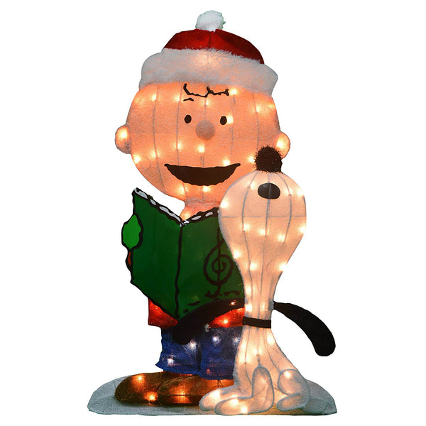 Product Works 20209L2D Peanuts 2D Christmas Caroling Charlie/Snoopy Yard Art,32""