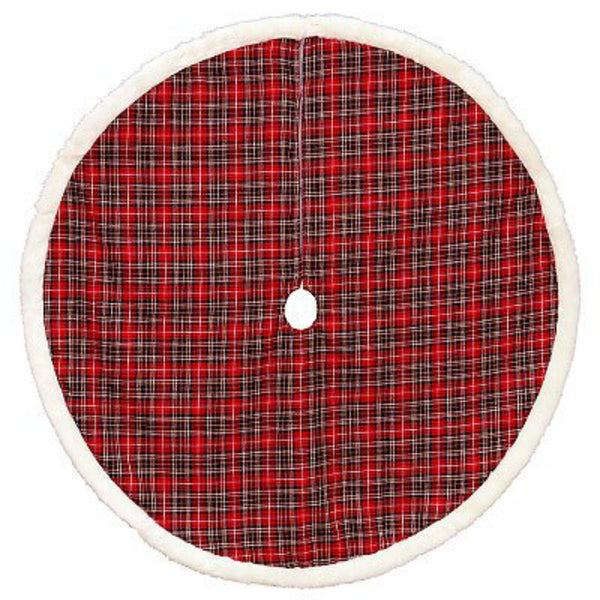 Dyno 2486906-1CC Plaid Tree Christmas Skirt with White Faux Fir Border, Red, 48""