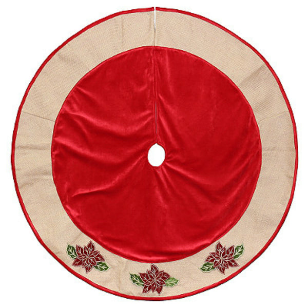 Dyno 2486113-2 3D Poinsettia Icon On Burlap Trim Velvet Tree Skirt, Red, 48""