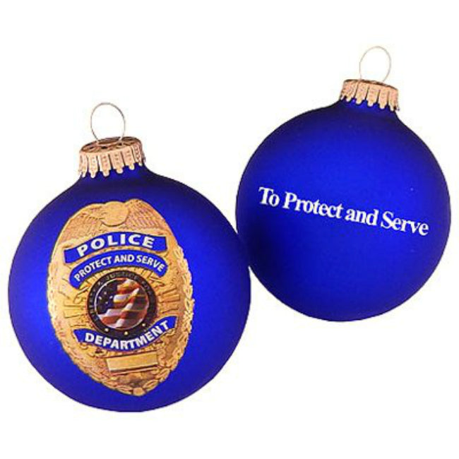 Christmas By Krebs TV72999 Glass Ornament w/ Police Logo, Royal Velvet, 3-1/4 Inch