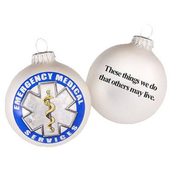 Christmas By Krebs TV73001 Glass Ornament with EMS Logo, Silver Pearl, 3-1/4 Inch
