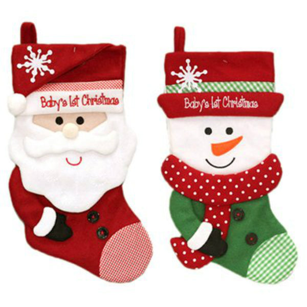 Dyno Seasonal 1167284CC Baby First Christmas Stocking, 2-Assorted Styles, 16 Inch