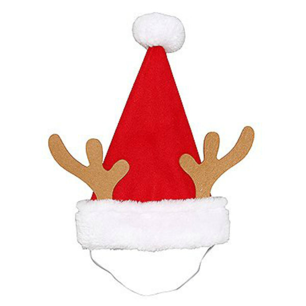 Dyno Seasonal 0409015-1CC Fleece Pet Christmas Hat w/ Brown Antlers, Red/White, 10 Inch