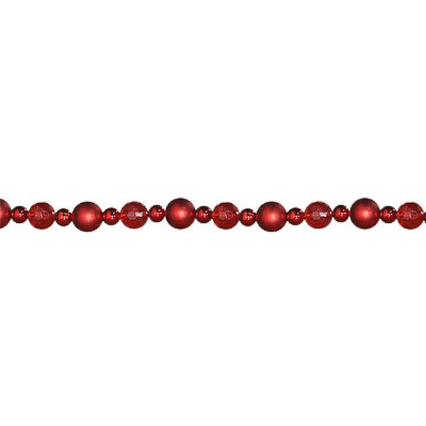 Dyno 585898-1001CC Traditional Christmas Bead Garland, Crimson/Ruby/Red Matte,8'