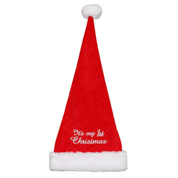 Dyno 0409163-1 Fleece Baby's 1st Christmas Embroidered Hat, Red/White, 18""