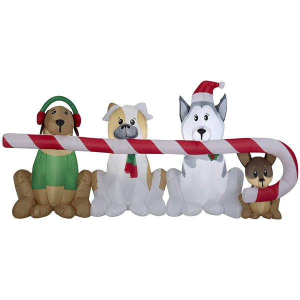 Gemmy 39367 Christmas Airblown Inflatable Puppies with Candy Cane, 3.5'