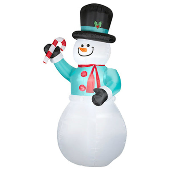 Gemmy 36716 Christmas Inflatable Snowman with Candy Cane, 12'