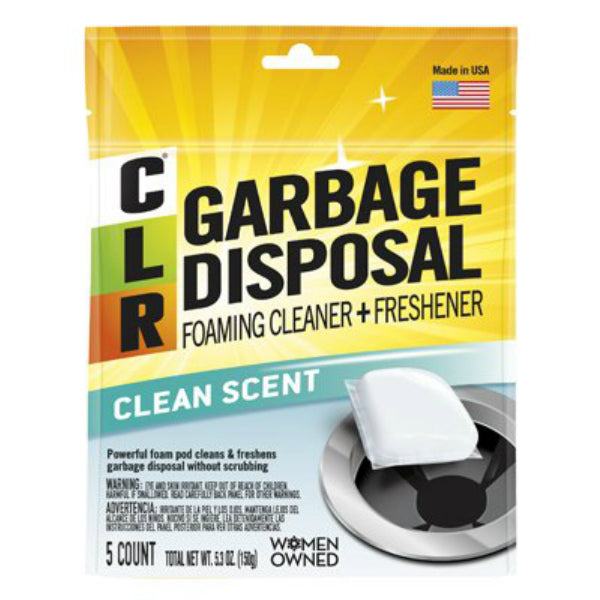 CLR GDC-6 Garbage Disposal Foaming Cleaner & Freshner, Clear, 5-Pack